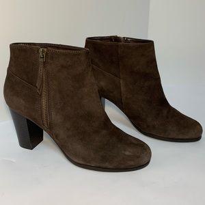Cole Haan suede heeled booties boots zip ankle 8.5
